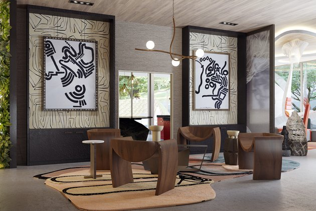 room with wood seating and black and white art on the wall as part of the virtual project Obsidian Concept House