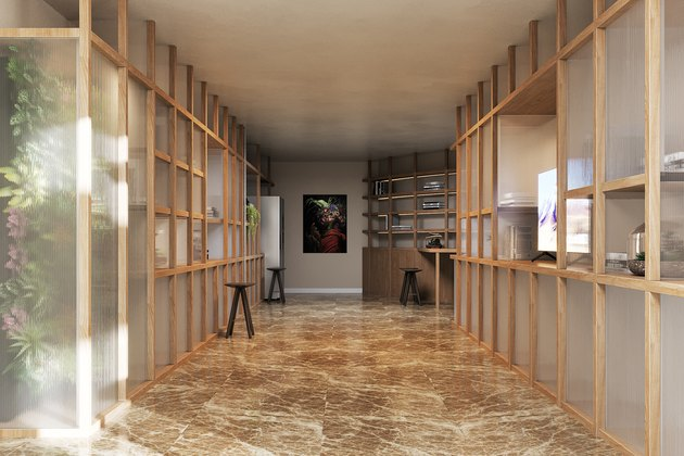 room with beige floor and wood and screened walls in virtual project Obsidian Concept House
