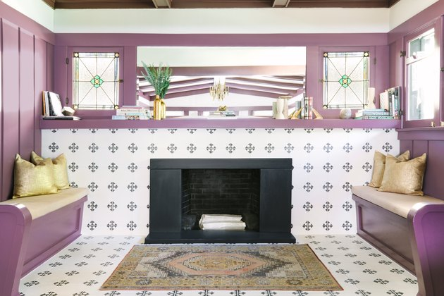 Wall-to-wall mauve contemporary fireplace mantel by Black Lacquer Design