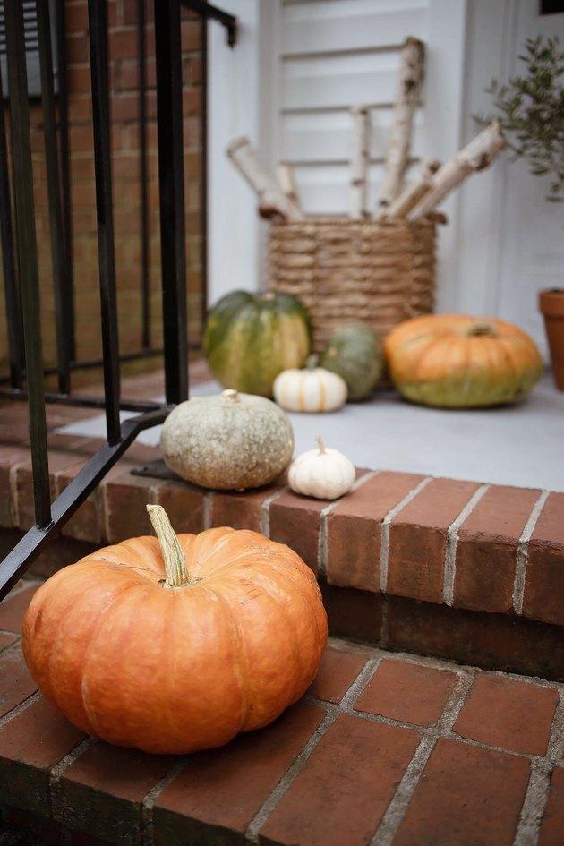 Heirloom pumpkins on porch steps