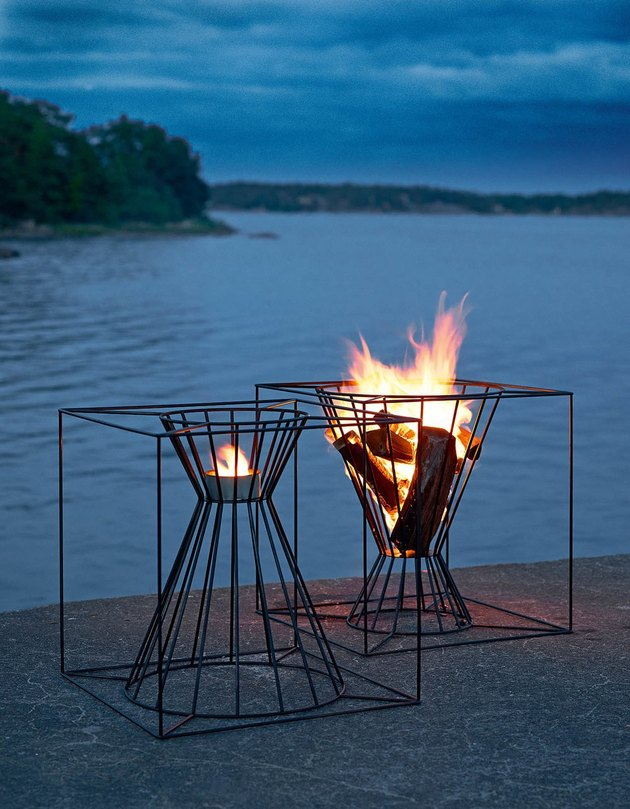 contemporary fire pit with sculptural design