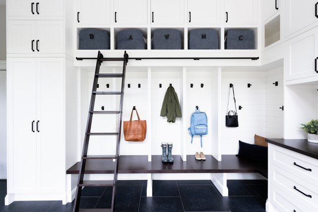 black and white garage mudroom storage