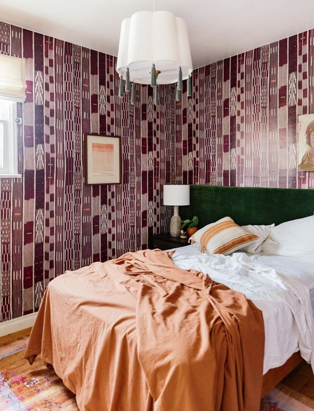 secondary colors in bedroom with purple, green and orange