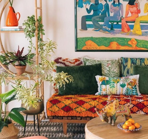 secondary colors orange and green in living room with pattern