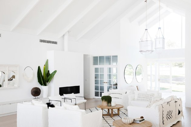 color meaning in white boho minimal living room