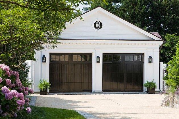 high gloss modern garage doors with glass panels