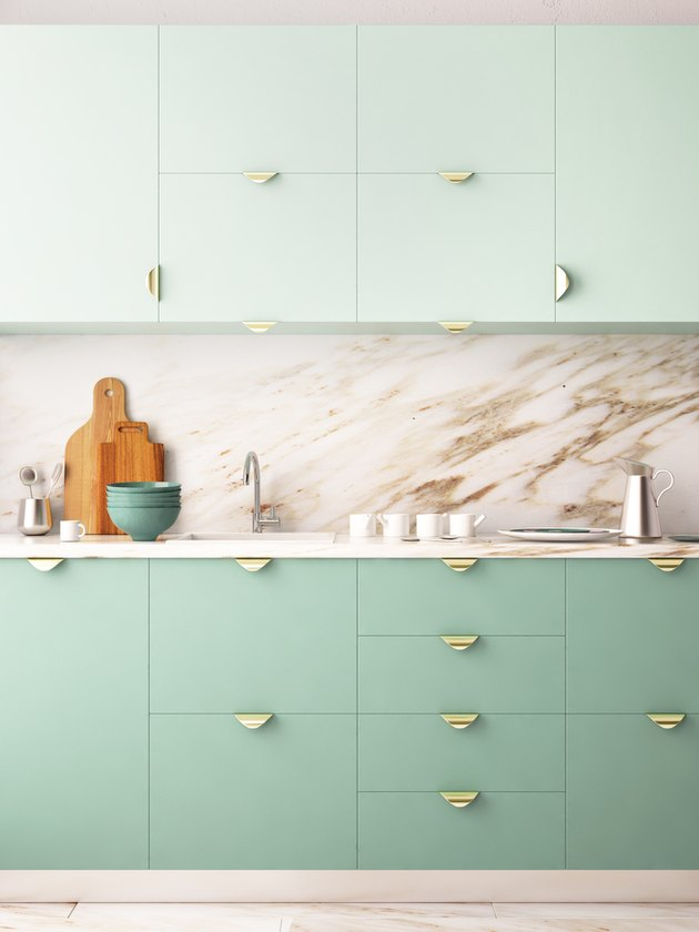 contemporary colors in mint green kitchen with marble backsplash