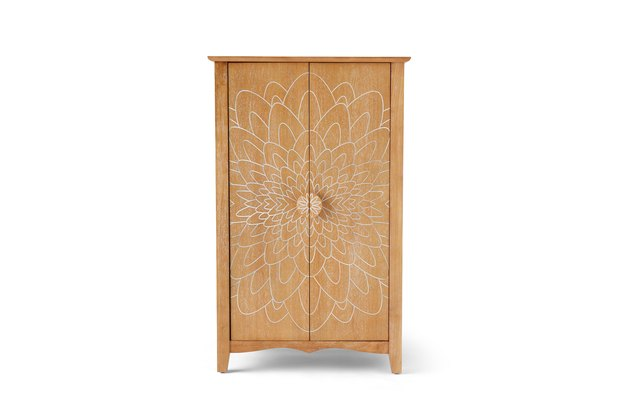 wood cabinet with flower pattern