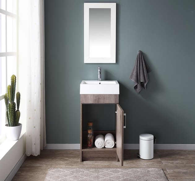 Mainstays Farmhouse 17.75 Inch Rustic Grey Single Sink Bathroom Vanity