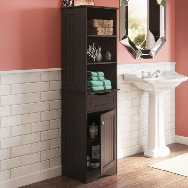 River Ridge Home Ashland Collection Tall Linen Cabinet Bathroom Storage