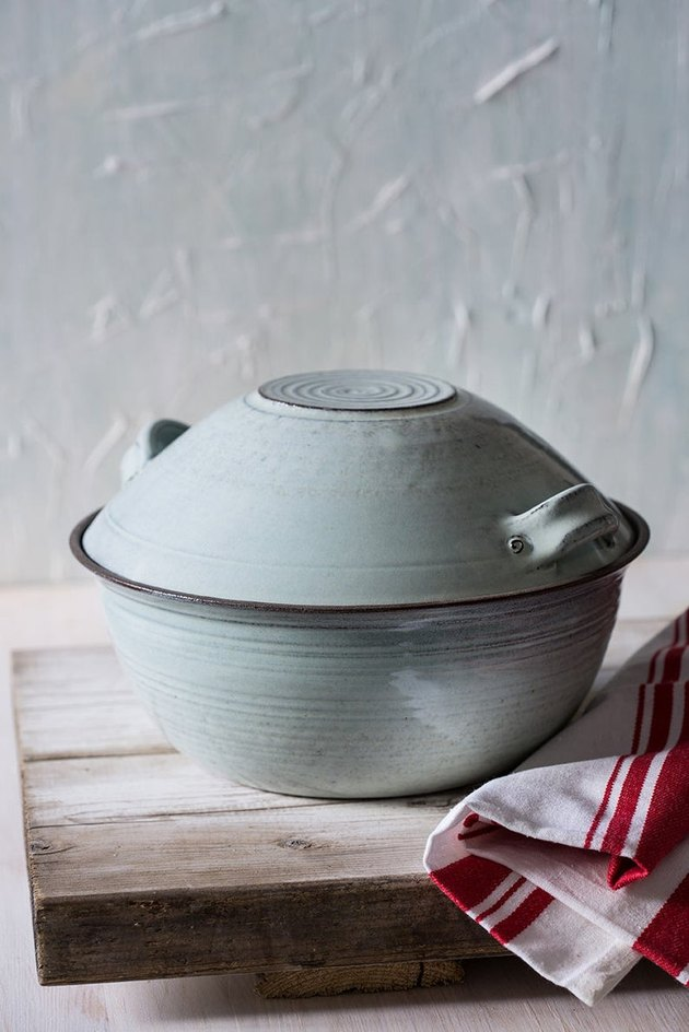 light blue ceramic bakeware with cover by Sarit Ceramics