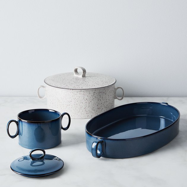 blue and white ceramic bakeware by Food52 x Dansk