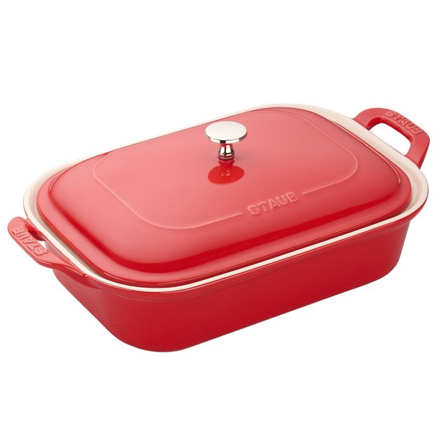 red ceramic bakeware with lid by Staub