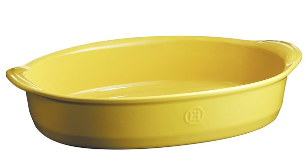yellow ceramic bakeware, Emile Henry oval oven dish