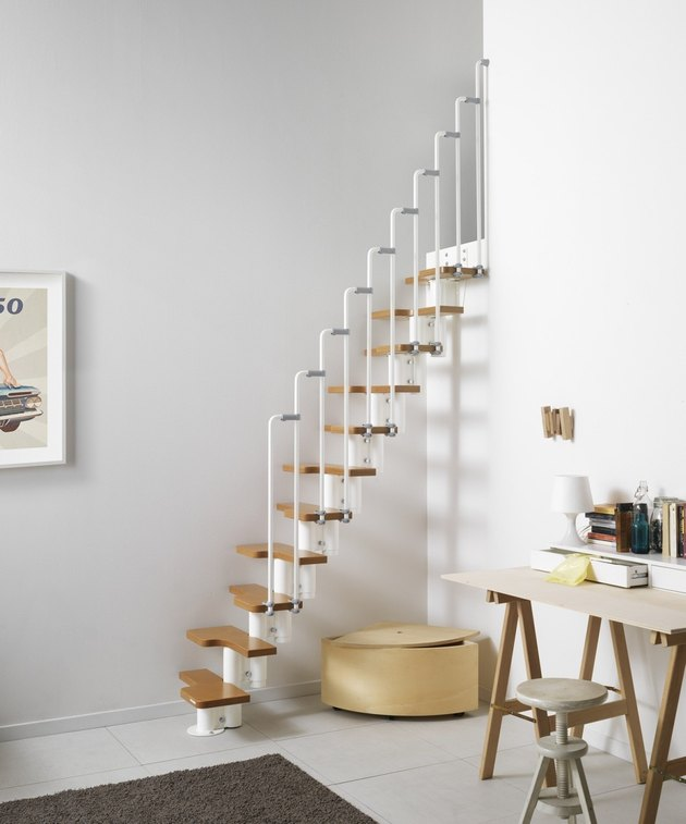 stairs for small space idea with wooden treads and white railing