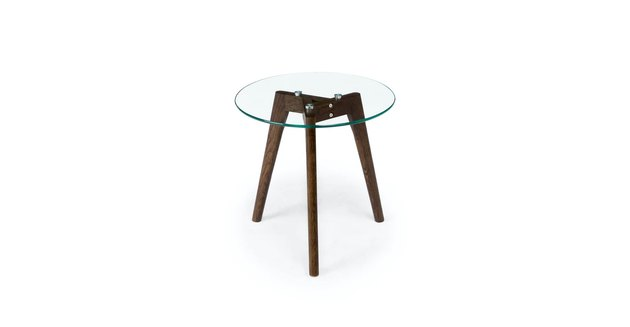 walnut side table with glass top