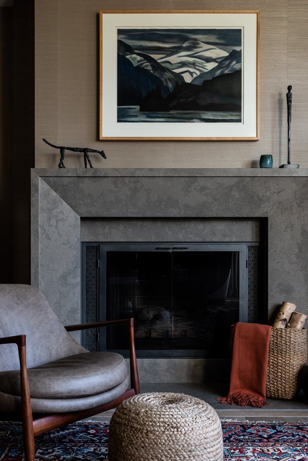Limestone contemporary fireplace mantel by LeeAnn Baker Interiors