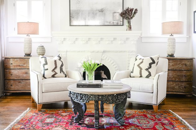 white brick Contemporary fireplace mantel by Mel Bean Interiors
