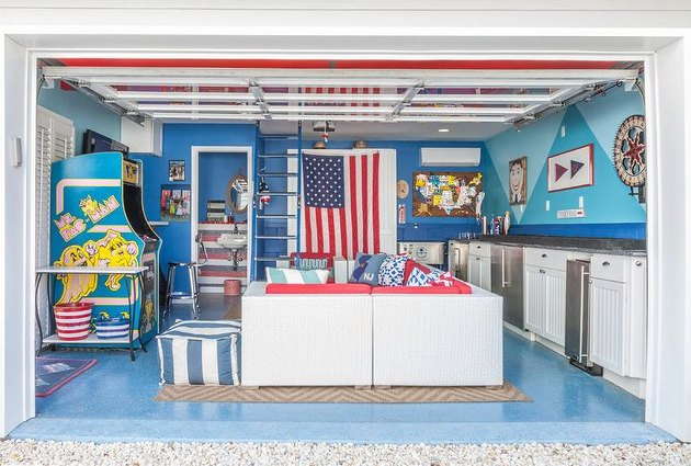 Converted garage bar ideas with kitchenette, bathroom and vintage arcade games