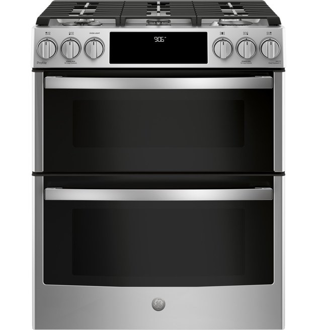 """best gas stove GE Profile™ 30"""" Smart Slide-In Front-Control Gas Double Oven Convection Range"""