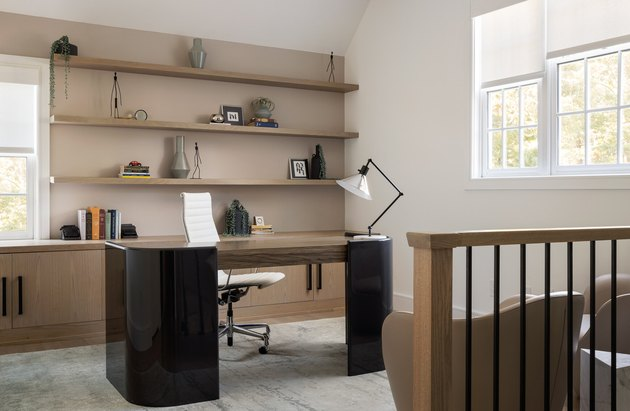 modern men's home office ideas with floating shelves