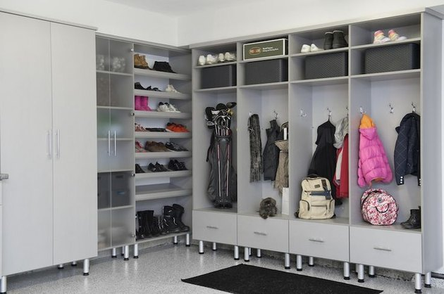 Garage mudroom storage with lockers, hooks, shoe storage, and Garage Wall Shelving Ideas