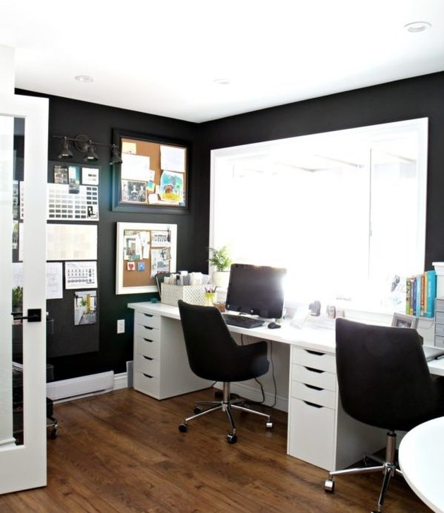 men's home office ideas with black paint and white trim