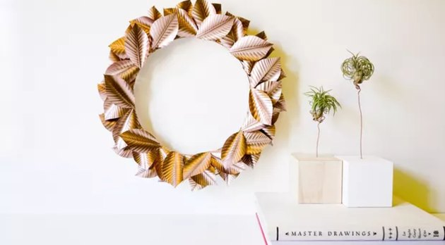 diy rose gold Thanksgiving wreath for fall