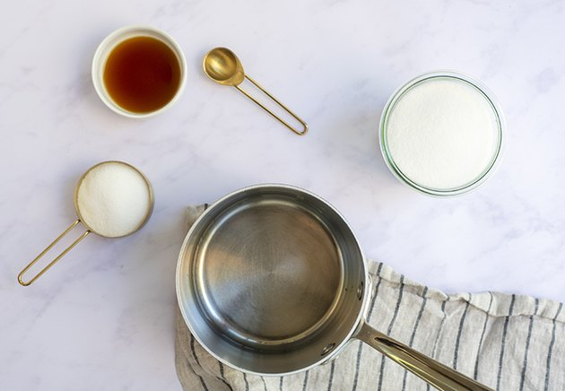 ingredients for vanilla homemade simple syrup