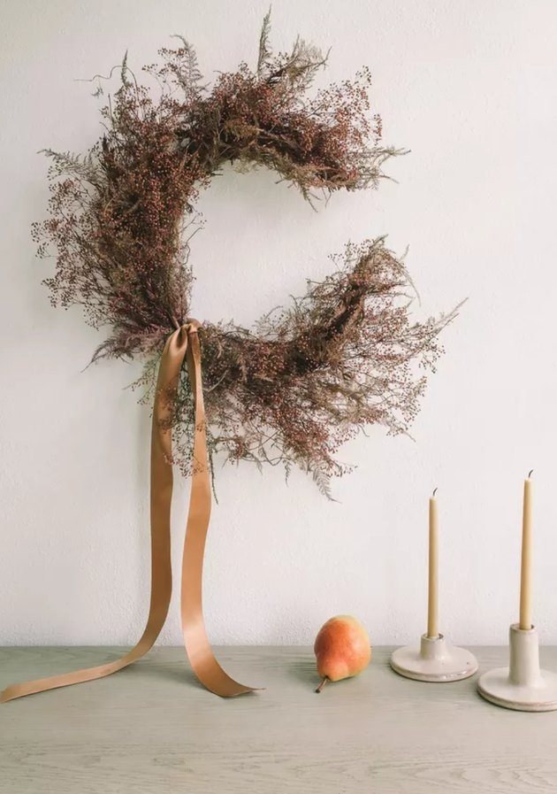 Thanksgiving wreath with ribbon in crescent moon shape