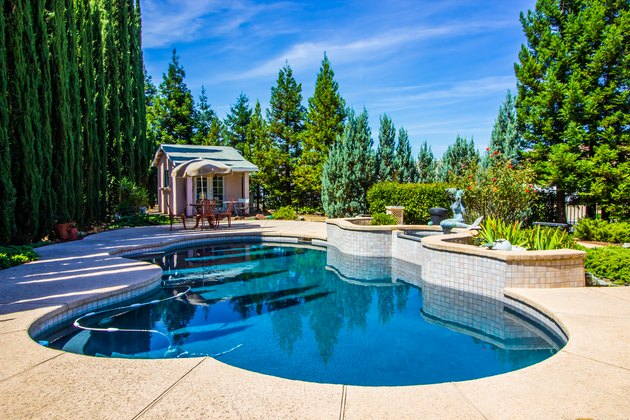 Tranquil Rear Yard Setting With Swimming Pool