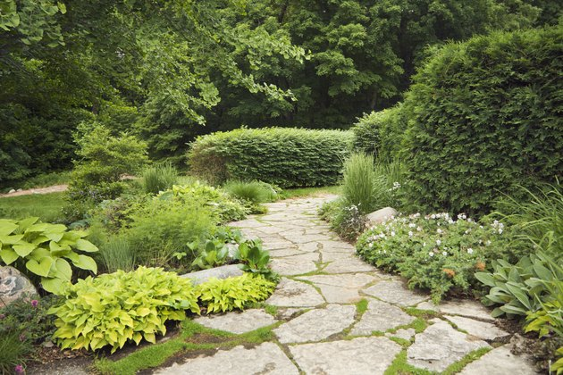 Landscaped Patio with Formal, Ornamental Gardens, Flowers, and Stone Path