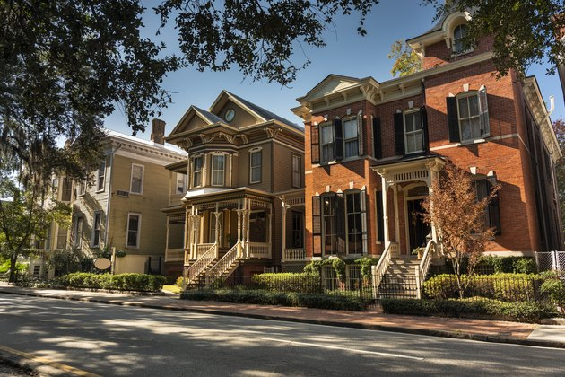 Old classical homes on a Savannah Georgia USA road