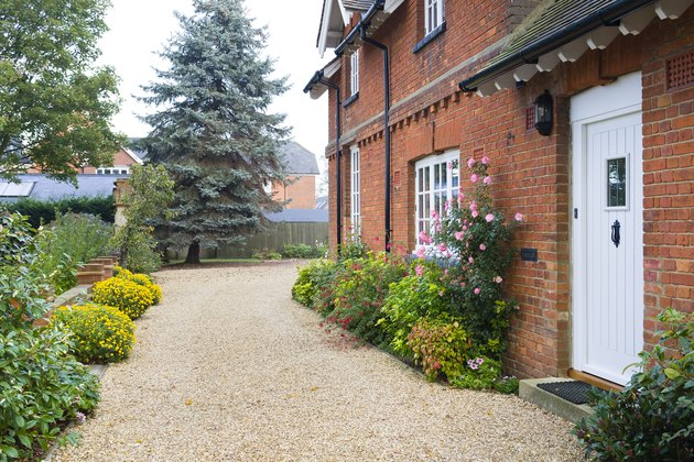 English country house, garden and driveway, UK