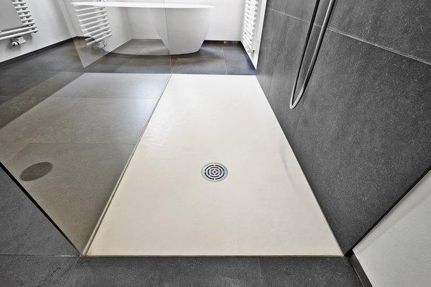 concrete slab floor and drain