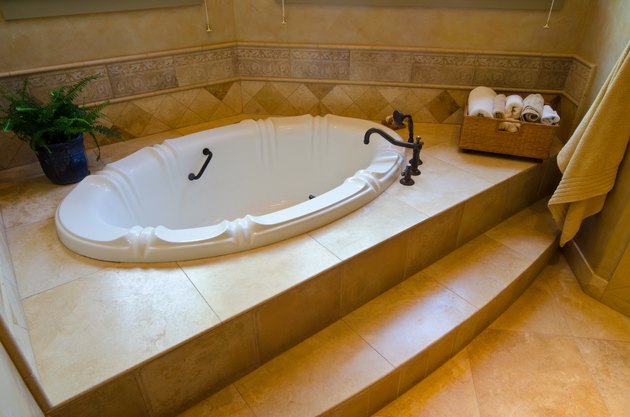 Close up of sunken tub