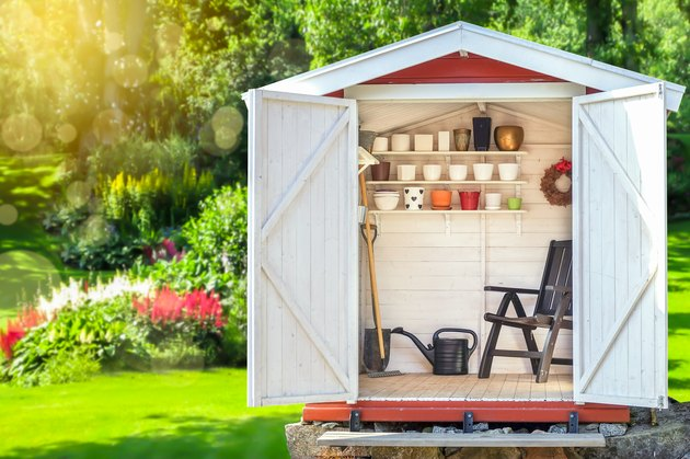Garden shed filled with gardening tools with green sunny garden in the background.