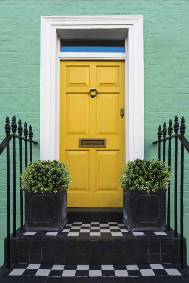 Colourful Entry & Door to a 18th Century Georgian London House, UK.