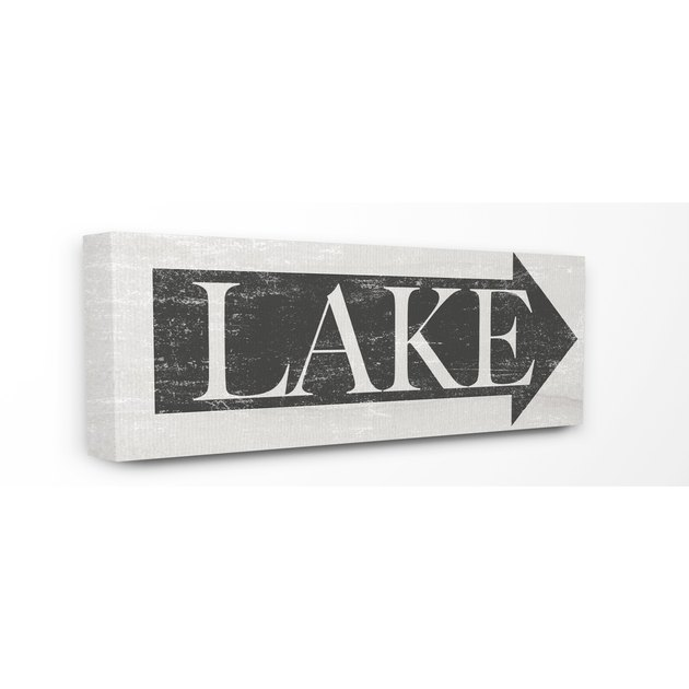 The Stupell Home Decor Collection Lake Arrow Sign Grey and White Distressed Stretched Canvas Wall Art, 10 x 1.5 x 24