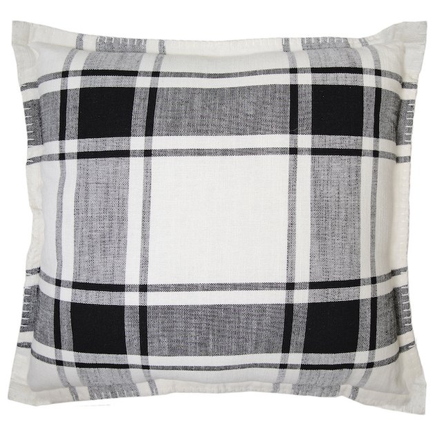 Better Homes and Gardens, Black/White Reversible Plaid Pillow