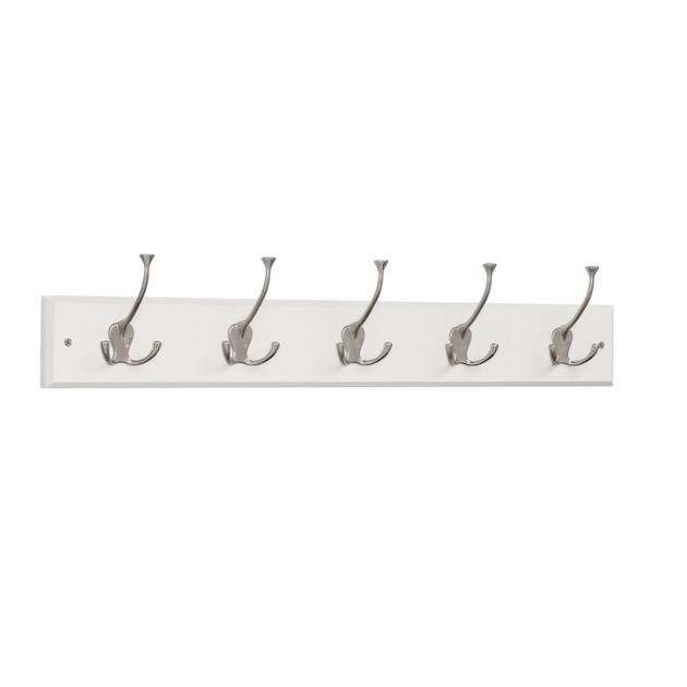 Liberty 27 in. White and Satin Nickel Tri-Hook Rack