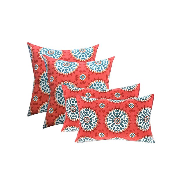 "SET OF 4 DECORATIVE THROW PILLOWS -- SET INCLUDES: 2 - 17"" x 17"" Throw Square Pillows AND 2 - 12"" x 20"" Lumbar / Rectangle Pillows -- Red, Coral, Turquoise Sundial Fabric."