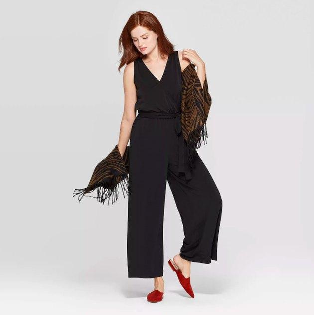 Women's Sleeveless V-Neck Knit Jumpsuit - A New Day™ Black