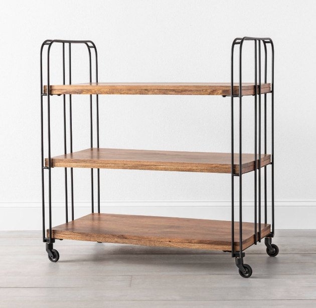 3 Shelf Wood / Metal Rolling Cart - Hearth & Hand™ with Magnolia