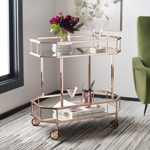 Safavieh Silva 2 Tier Modern Glam Octagon Bar Cart with Casters