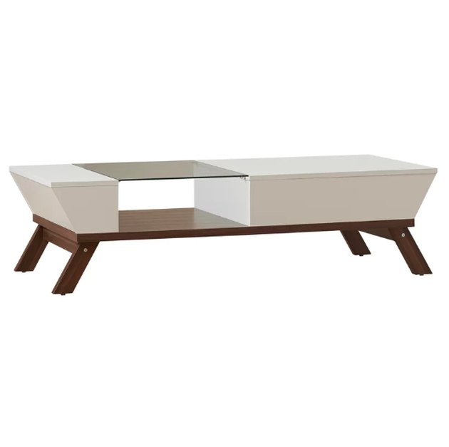 Putting a contemporary twist on mid-century modern styles, this coffee table's mixed media look is sure to grab glances! Founded atop splayed legs, it pairs a manufactured wood body with glass accents and a clean-lined silhouette. An open shelf below makes space to stage your favorite decorative pieces, while drop-down panels create a hidden storage compartment, allowing you to tuck away any living room essentials you want out of sight but close at hand.