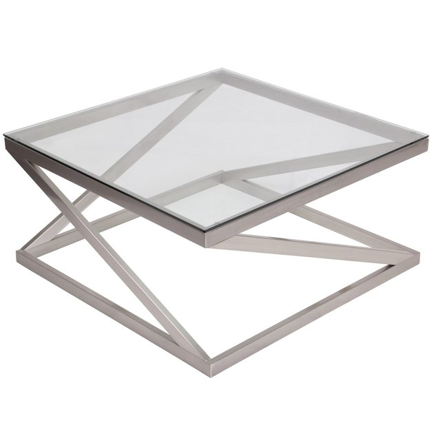 Go sleek and modern with the Signature Design by Ashley Coylin Cocktail Table. This striking accent table features a zigzag, tubular metal frame in brushed nickel for a one-of-a-kind look. It's topped off with a beveled glass top. It's perfect for serving snacks, drinks, and more.