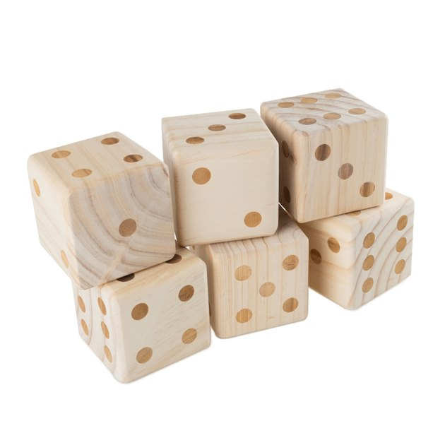 The Giant Wooden Yard Dice Outdoor Lawn Game, 6 Playing Dice with Carrying Case for Kids and Adults by Hey! Play! will bring giant size fun to any existing dice game. These giant dice are perfect for players of all ages and dexterity, and come in an easy carrying case so you can take them to any picnic, tailgate, backyard or pool activity.