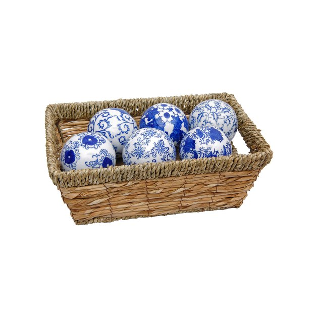 Unique set of six fine quality vitreous porcelain ceramic spheres, finished in an authentic array of traditional Ming dynasty era artistic designs. Simple yet traditional home decor accents, perfect for formal interior designs as well as casual decorative tastes and styles.