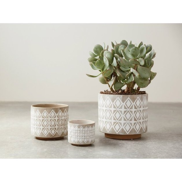 3R Studios Grey and White Stoneware Planters - Set of 3